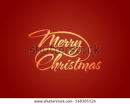beautiful glittering text design of Merry Christmas on red color background. vector illustration - stock vector