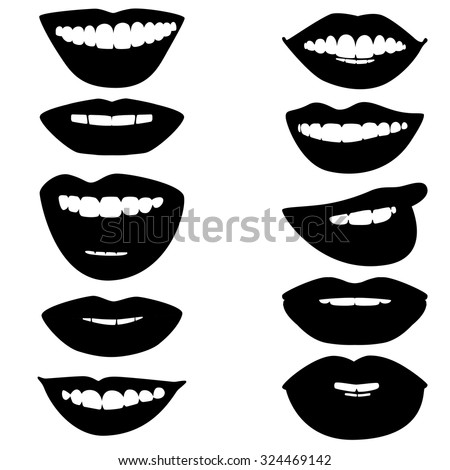 Beautiful glossy female lips. Smile. Ink drawing.  Black and white. Set. - stock vector