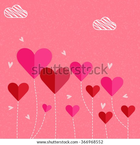 Beautiful glossy pink and red paper hearts for Happy Valentine's Day celebration.
