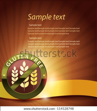 Beautiful gluten free design. Golden ribbon, harmonic and bright color combination.
