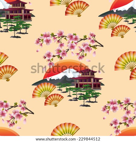 Beautiful golden background seamless pattern with branch of blossoming sakura  - cherry tree, japanese landscape, two fans and traditional japanese house. Floral spring wallpaper. Vector illustration - stock vector