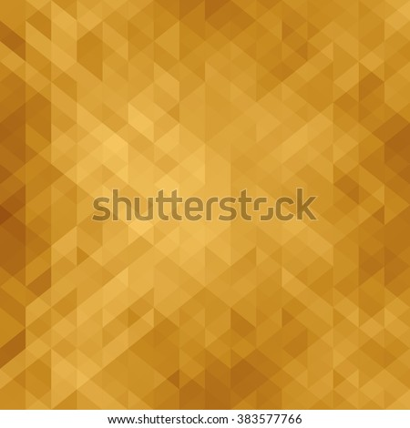 Beautiful golden background with triangle . Geometric design for business presentations. Luxury abstract polygonal mosaic . Web template. Golden card. Vector illustration. - stock vector
