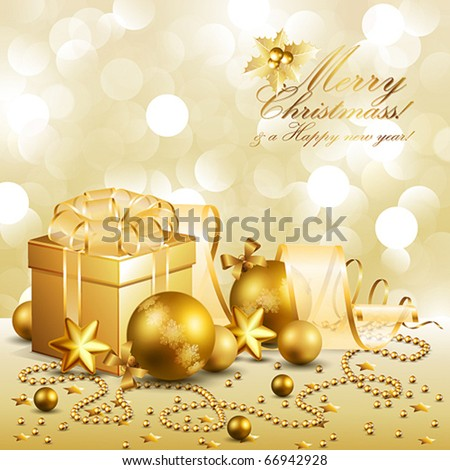 beautiful golden christmas background