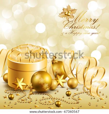 beautiful golden christmas background - stock vector