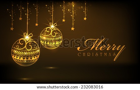 Beautiful golden hanging X-mas balls with stars on shiny brown background for Merry Christmas celebrations. - stock vector