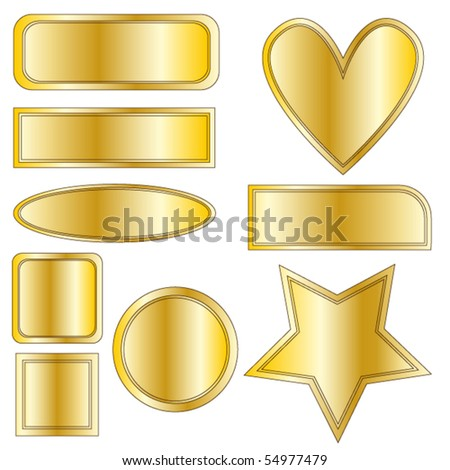 Beautiful golden metal vector buttons, heart and star over white background - stock vector