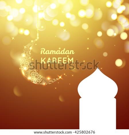 Beautiful golden moon, Ramadan Kareem greeting on gold bokeh background. - stock vector