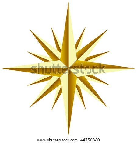 Beautiful golden star Vector on white background