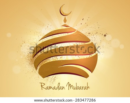 Beautiful golden upper part of a mosque on shiny rays background for Islamic holy month of prayers, Ramadan Kareem celebration. - stock vector
