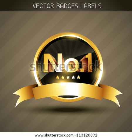 beautiful golden winner no.1 label vector - stock vector