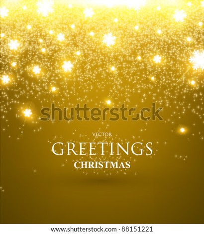 Beautiful golden xmas background with glow snowflakes and sparks, Christmas design - stock vector