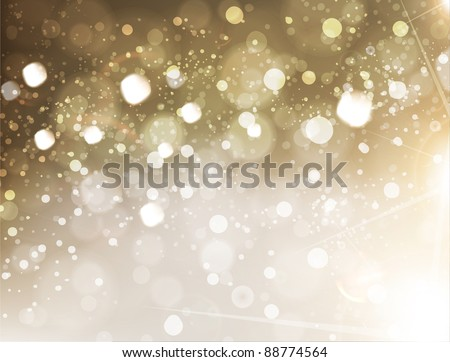 Beautiful golden xmas background with glow snowflakes and sparks, Christmas design