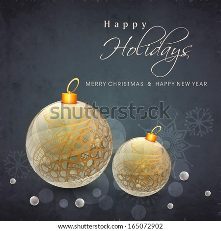 Beautiful golden Xmas balls on grey background, Happy Holidays concept.  - stock vector