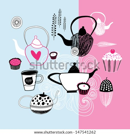 beautiful graphic images teapots and cakes