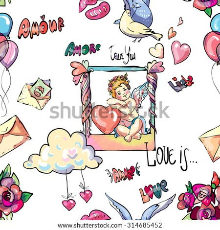 Beautiful Graphic Pattern Cupid Other Different Stock Vector