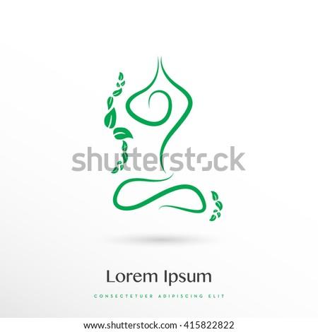 BEAUTIFUL GREEN ELEGANT SILHOUETTE IN YOGA POSITION , VECTOR LOGO / ICON - stock vector