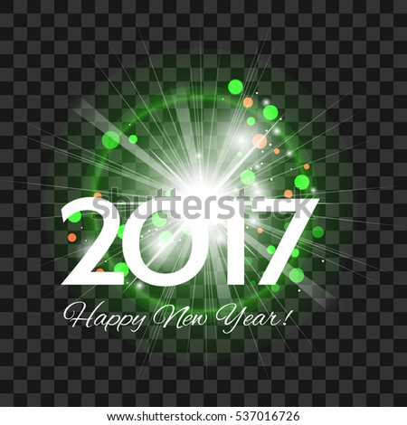 Beautiful green fireworks with a bright flash of light and the words Happy New Year 2017! on a transparent background