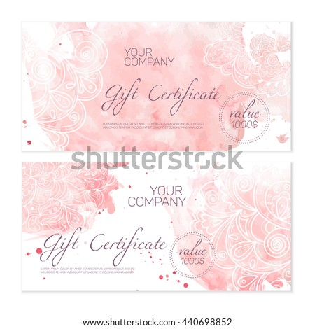 Beautiful Green Gift Certificate Templates Nice Stock Vector