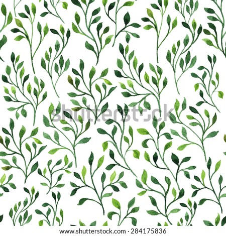 Beautiful green hand drawn watercolor brunches floral leaves repeating pattern, delicate plant ornament, can be used as seamless background. Vector illustration.