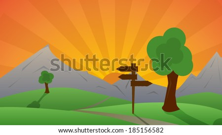 Beautiful green landscape and the sunset behind hills. - stock vector