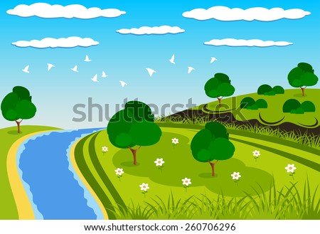 Beautiful green landscape illustration with a river - stock vector