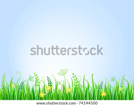 Beautiful green meadow. Vector Illustration of Grass at Lawn With Blue Sky - stock vector