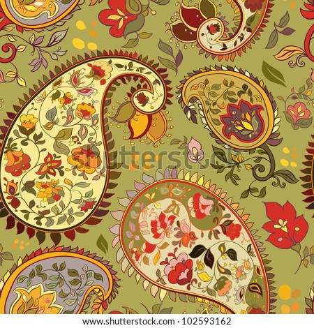 beautiful green  paisley seamless background - stock vector