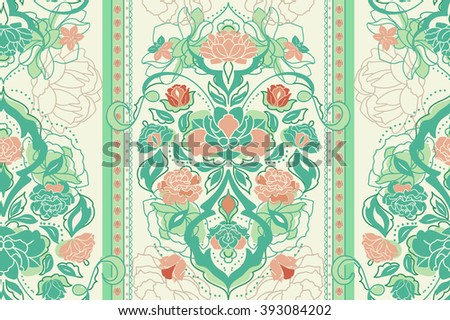 Beautiful green pastel floral classic victorian seamless pattern with rose, peony, gardenia flowers. Elegant vintage vector eastern background or texture - stock vector
