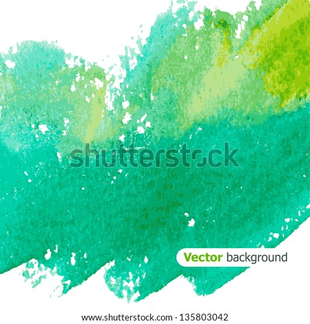 Beautiful green watercolor background. Vector illustration - stock vector