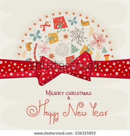 Beautiful greeting card design decorated with X-mas ornaments and red ribbon for Merry Christmas and Happy New Year celebrations. - stock vector