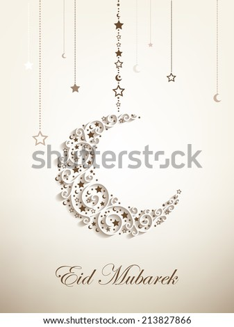 Beautiful greeting card for Eid Mubarak festival , Crescent moon decorated with stars on white background for muslim community festival Eid Mubarak celebrations.   - stock vector