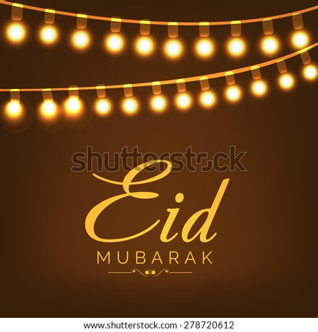 Beautiful greeting card for Eid Mubarak festival with shiny background. - stock vector