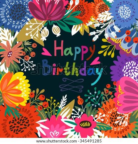 Beautiful Greeting Card Happy Birthday Bright Stock Vector 345491285