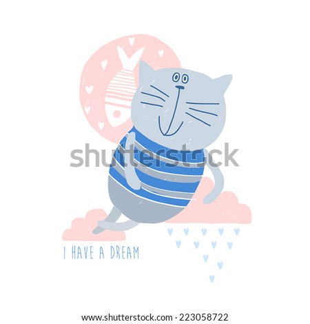 Beautiful  greeting card. I have a dream - stock vector