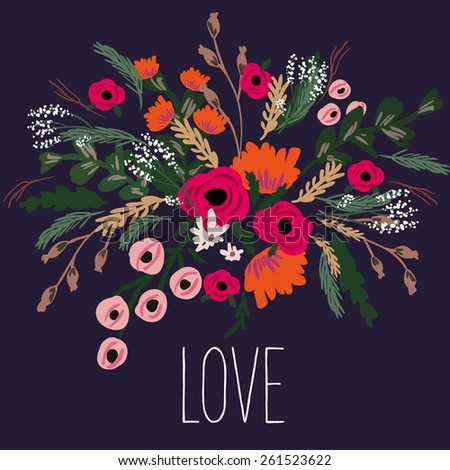 "Beautiful greeting card of floral wreath and hand drawn letters ""All you need is love"". Bright illustration, can be used as greeting card, invitations for wedding,birthday, cute summer background - stock vector"