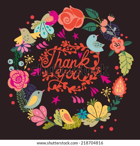 "Beautiful greeting card ""Thank you"". Bright illustration, can be used as creating card,invitation card for wedding,birthday and other holiday and cute summer background. - stock vector"