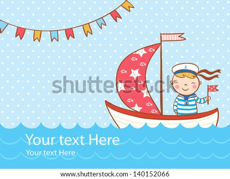 Beautiful greeting card with boy, ship and sea. Vector party invitation. - stock vector