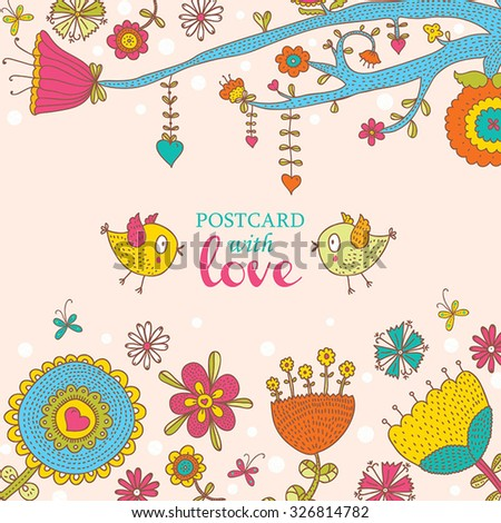 Beautiful  greeting card with flowers and bird. Vector party invitation with floral elements. - stock vector