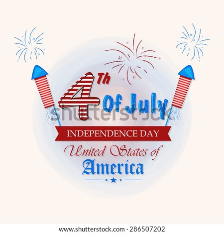 Beautiful greeting card with glossy text 4th of July on national flag color fireworks background for American Independence Day celebration. - stock vector