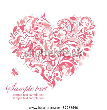 Beautiful greeting card with pink floral heart - stock vector