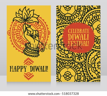 Beautiful greeting cards diwali festival indian stock vector beautiful greeting cards for diwali festival with indian gods hand and lotus vector illustration m4hsunfo