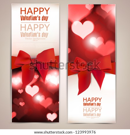 Beautiful greeting cards with red bows and copy space. Valentine's day. Vector illustration - stock vector