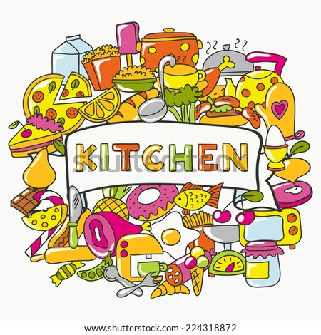 Beautiful greeting cooking card. Cute poster design. Vector illustration. - stock vector