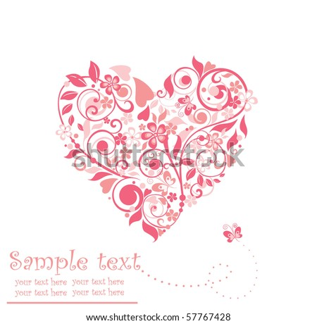 Beautiful greeting floral heart - stock vector