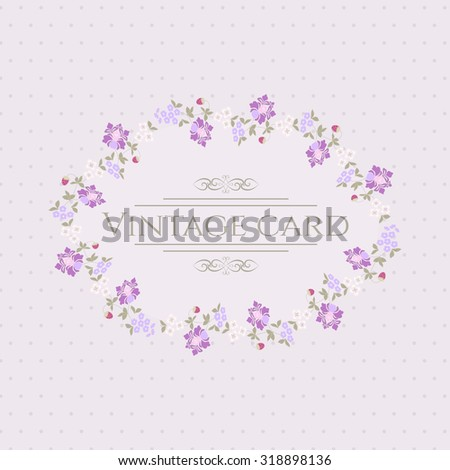 Beautiful greeting vintage card with flowers - stock vector