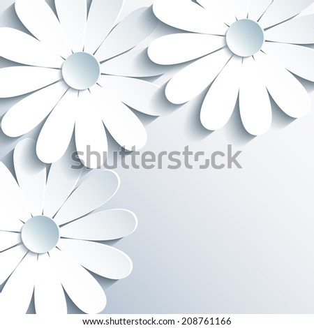 Beautiful grey wallpaper with 3d white cut paper chamomile. Creative modern abstract background. Stylish greeting or invitation card for life events. Vector illustration. - stock vector
