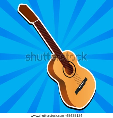 Beautiful Guitar with a blue background