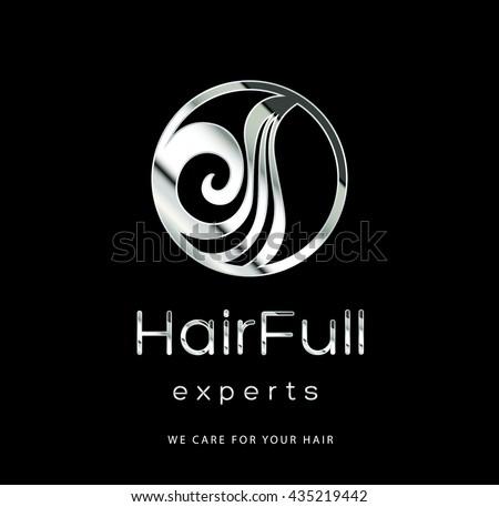 BEAUTIFUL HAIR , PREMIUM VECTOR LOGO / ICON DESIGN , SILVER - stock vector