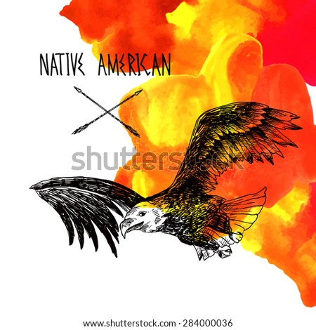 Beautiful han drawn sketch illustration eagle and watercolor - stock vector