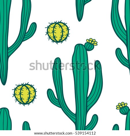 Beautiful hand drawn cacti abstract natural seamless pattern.